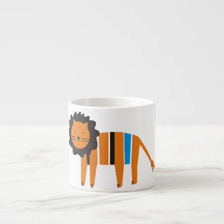 Lion,  blue, yellow,  beige and black  on a white espresso cup