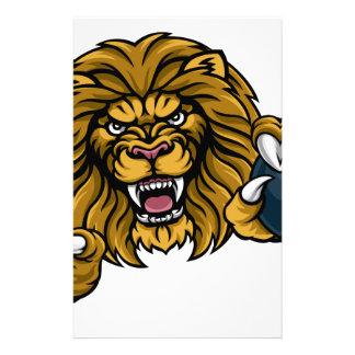 Lion Bowling Ball Sports Mascot Stationery