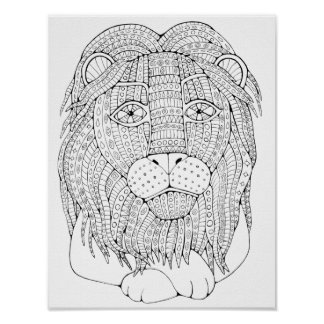 Lion Cardstock Adult Coloring Page Poster