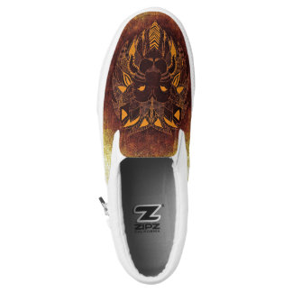 Lion Cat Patchwork Abstract Slip On Sneaker