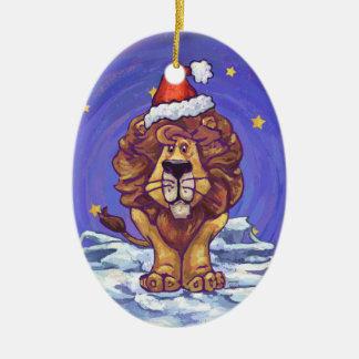 Lion Christmas Ceramic Oval Decoration