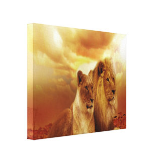 Lion Couple At Sunset Canvas Print