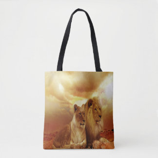 Lion Couple At Sunset Tote Bag