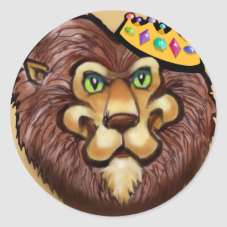 Lion Crown Round Sticker