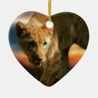 Lion Cub Ceramic Heart Decoration