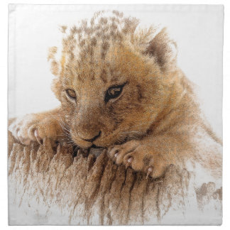 Lion cub close cute eyes lookout napkin