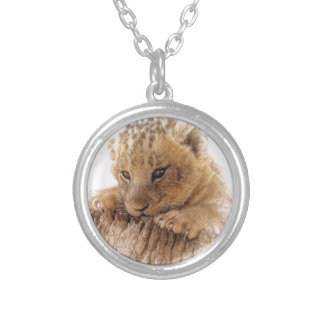 Lion cub close cute eyes lookout silver plated necklace