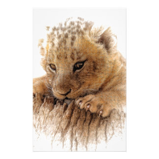 Lion cub close cute eyes lookout stationery