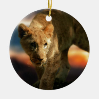 Lion Cub Round Ceramic Decoration