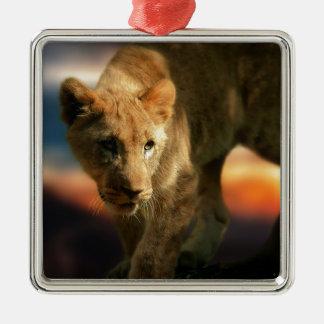 Lion Cub Silver-Colored Square Decoration