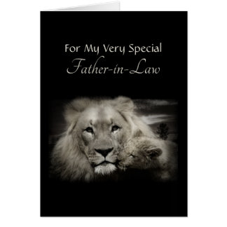 Lion Dad and Cub Father's Day for Father-in-Law Card
