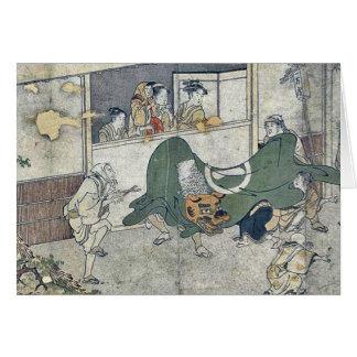 Lion dance by Kitagawa,Utamaro Card