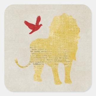 Lion & Dove Silhouette Sticker