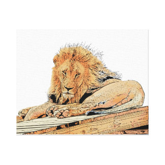 Lion drawing, lying on a scaffold canvas print
