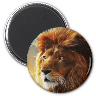 Lion face .King of beasts abstraction 6 Cm Round Magnet