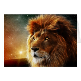 Lion face .King of beasts abstraction Greeting Card