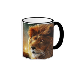 Lion face .King of beasts abstraction Ringer Mug