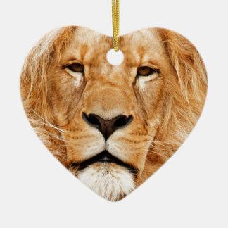 Lion Face Photograph Ceramic Heart Decoration