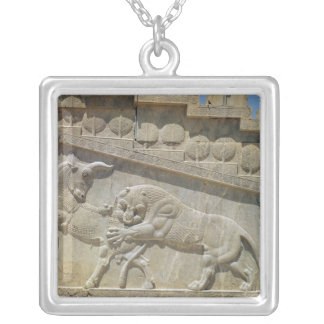 Lion fighting bull, relief east staircase silver plated necklace