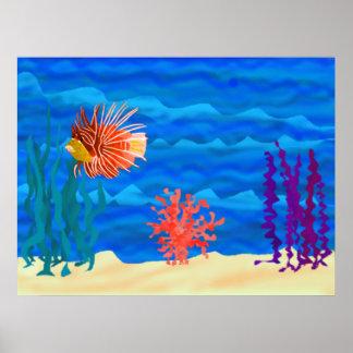 Lion fish ocean poster