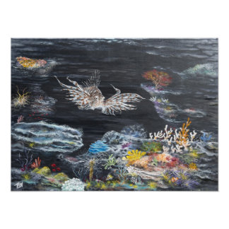 Lion fish painting on photo print