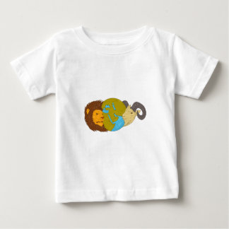 Lion Goat Head Middle East Map Globe Drawing Baby T-Shirt