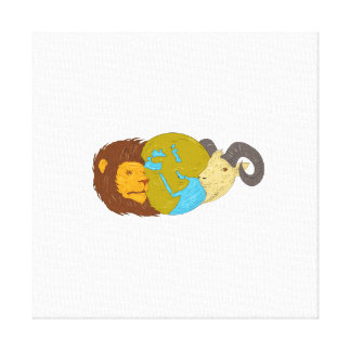 Lion Goat Head Middle East Map Globe Drawing Canvas Print