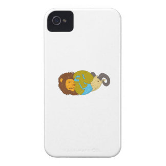 Lion Goat Head Middle East Map Globe Drawing iPhone 4 Case