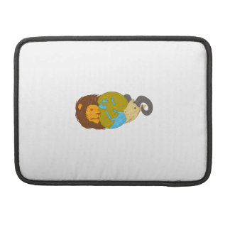 Lion Goat Head Middle East Map Globe Drawing Sleeve For MacBooks