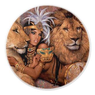 Lion Goddess Egyptian Princess Ceramic Pull Knob