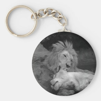 Lion grooming Lioness (animal life 1) Keychain