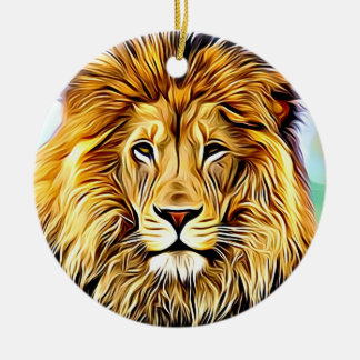 Lion head Digital painting Ceramic Ornament