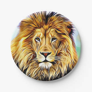Lion head Digital painting Paper Plate