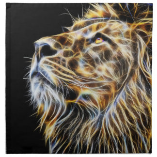 Lion Head Glowing Fractalius Napkin