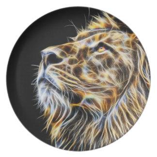 Lion Head Glowing Fractalius Plate