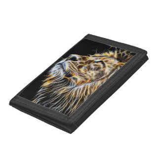 Lion Head Glowing Fractalius Trifold Wallets