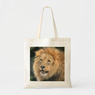lion head male beautiful photo shopping tote bag