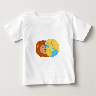 Lion Head Middle East Asia Map Globe Drawing Baby T-Shirt