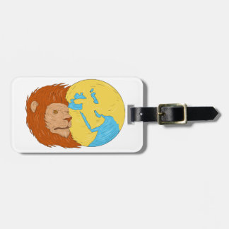 Lion Head Middle East Asia Map Globe Drawing Bag Tag