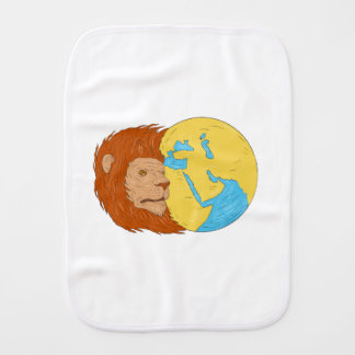 Lion Head Middle East Asia Map Globe Drawing Burp Cloth