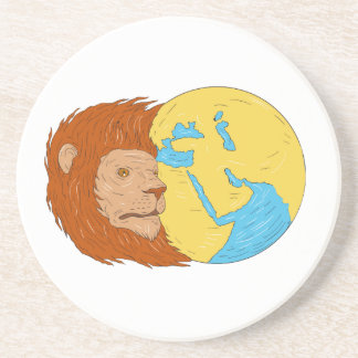 Lion Head Middle East Asia Map Globe Drawing Coaster