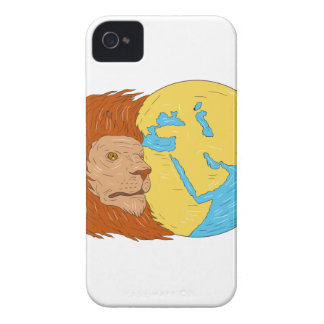 Lion Head Middle East Asia Map Globe Drawing iPhone 4 Case-Mate Case