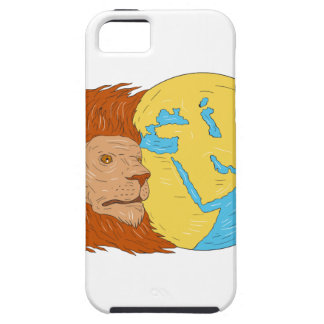 Lion Head Middle East Asia Map Globe Drawing iPhone 5 Covers