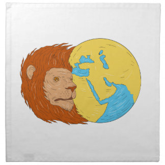 Lion Head Middle East Asia Map Globe Drawing Napkin