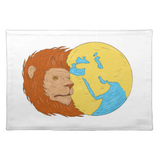 Lion Head Middle East Asia Map Globe Drawing Placemat