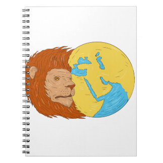 Lion Head Middle East Asia Map Globe Drawing Spiral Notebook