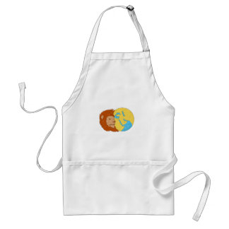 Lion Head Middle East Asia Map Globe Drawing Standard Apron