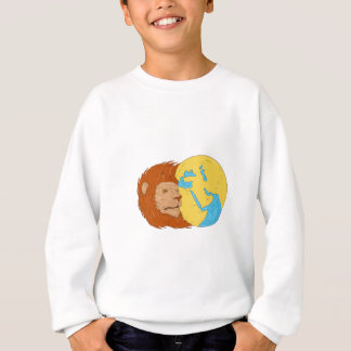 Lion Head Middle East Asia Map Globe Drawing Sweatshirt
