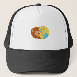 Lion Head Middle East Asia Map Globe Drawing Trucker Hat