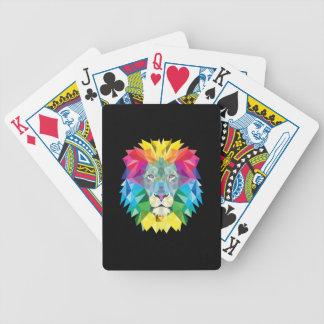 Lion Head on Black Poker Deck